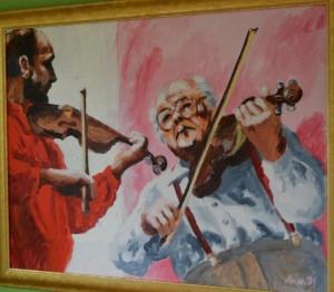 Maleri af Evald Thomsen i den store sal.